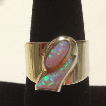 Jay King Opal Ring Sz 9 Sterling Silver 925 Desert Rose Trading DRT Vintage Southwestern Jewelry Christmas Holiday Mother's Birthday Gift