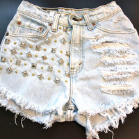 High waist destroy denim shorts super frayed
