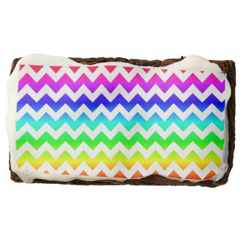 Rainbow White Chevron Brownie