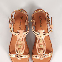 Breckelle Rita-62 Perforated Open Toe Slingback Flat Sandal
