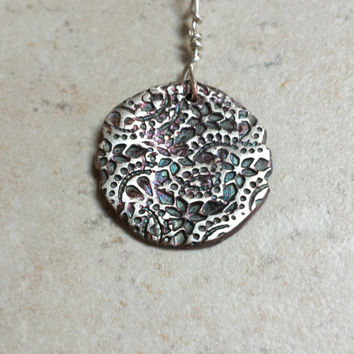 Antique Fine Silver Floral Necklace - PMC, oxidized, patina jewelry, Artisan jewelry, Wire wrapping