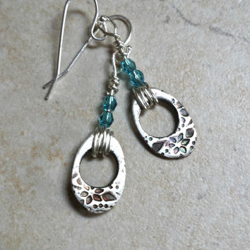 Hammered Fine Silver Floral Earrings - PMC, Swarovski, Handmade earrings, Artisan jewelry, Wire Wrapped