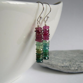 925 Sterling Silver Watermelon Tourmaline Earrings, Long Size