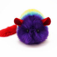 Reserved for Melissa Reverse Rainbow Chinchilla Stuffed Plushie, 6x10 Inches, Large Size