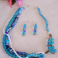 Blue Beaded Necklace with Matching Dangling Beaded Earrings, Unique Handcrafted Jewelry,  Fashion Accessory