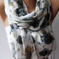 Grey Flowers Silky Touch Elegance Shawl / Scarf by womann,,,,