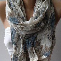 Soft Flowers Elegance Shawl / Scarf by womann,,,,