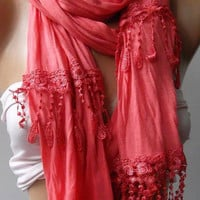 Pomegranate Flower Elegance Shawl / Scarf by womann,,,,
