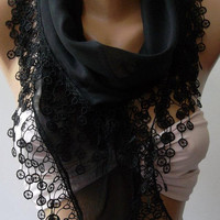 Black Elegance Shawl / Scarf with Lace Edge by womann on Etsy,,,,