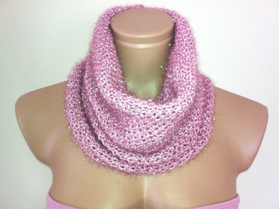 Pink shimmery cowl by Arzus on Etsy
