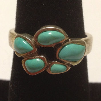 Barse Turquoise Ring Sz 8 Blue 925 Sterling Silver Vintage Southwestern Jewelry Christmas Xmas Holiday Birthday Anniversary Mother's Gift