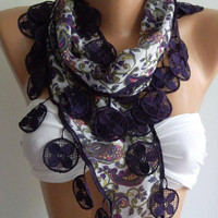 Purple Elegance Shawl with Lacy Edge by womann on Etsy,,,,