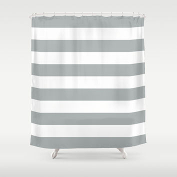 Stripe Horizontal Grey & White Shower Curtain by BeautifulHomes   Society6