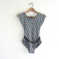 vintage 80s leotard. Striped black and grey bodysuit.