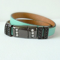 Sea Foam Green Spanish Regaliz Leather Wrap Bracelet with Magnetic Pave Clasp, Sophisticated Leather Wrap, Womens Fashion, fashion love