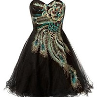 Ansen Metallic Peacock Homecoming Cocktail Dress Tu-001