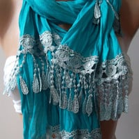 Turquoise Blue and Elegance Shawl / Scarf by womann on Etsy,,,,