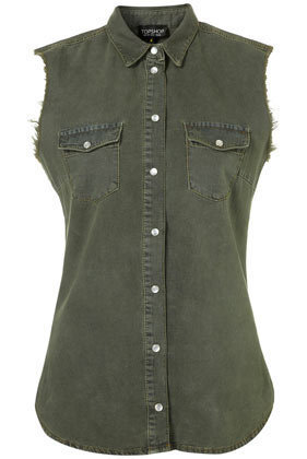MOTO Khaki Sleeveless Denim Shirt - Denim  - Clothing  - Topshop
