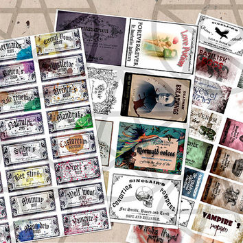 Halloween labels mixed big set of whimsical harry potter and medieval style jpg digital collage instant download