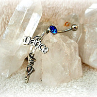 Just Dance Blue Belly Ring, Ballerina Belly Ring, Ballet Jewelry, Ready to Ship
