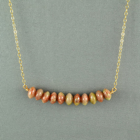 Beautiful Autumn Jasper Beads Necklace Wired by WonderfulJewelry