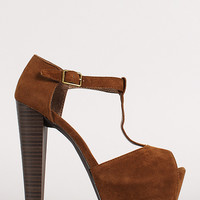 Breckelle Brina-01W T-Strap Peep Toe Platform Pump