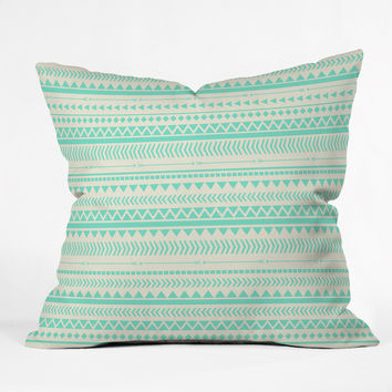 Allyson Johnson Mint Tribal Throw Pillow