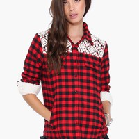 Shearling Plaid Buttondown