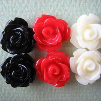 6PCS - Mini Rose Flower Cabochons - 10mm - Resin - Black, Red And Vanilla - Cabochons By ZARDENIA