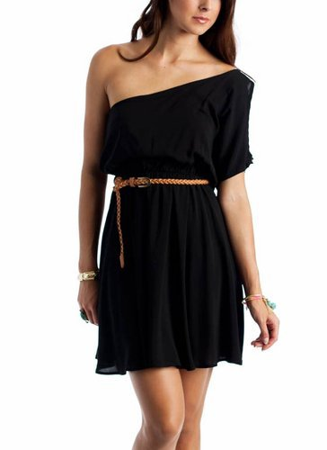 asymmetrical belted dress &amp;#36;25.30 in BLACK MOCHA - Casual | GoJane.com