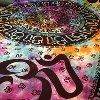 "OM Aum YOGA Indian CHAKRA Tie Dye HIPPIE Boho India Indian Wall Hanging 100% Cotton TAPESTRY Bedding Bedspread 72"" x 108"" from 4Rissa"