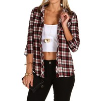 Black Hooded Plaid Shirt