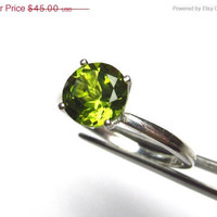 INDEPENDENCE DAY SALE Dazzling Genuine Peridot in Sterling Silver Ring Size 5, 6, 7, 8