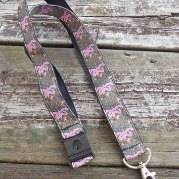 Camouflage Pink Browning Ribbon Safety Breakaway Lanyard, ID Badge,Cell Phone, Key Holder