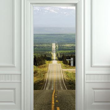 "Wall Door STICKER road highway freeway way freedom mural decole film poster 31x79""(80x200cm)"