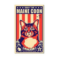 Obey the Maine Coon Cat! USA Sticker on CafePress.com
