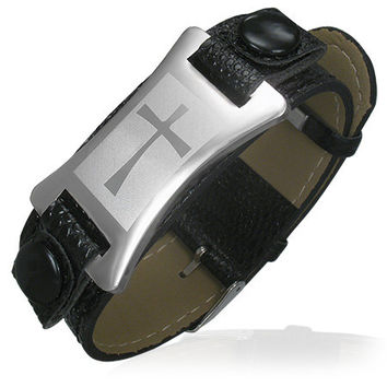 PVC Leather Belt Buckle Bracelet w/ Stainless Steel Cross Watch-Style Design
