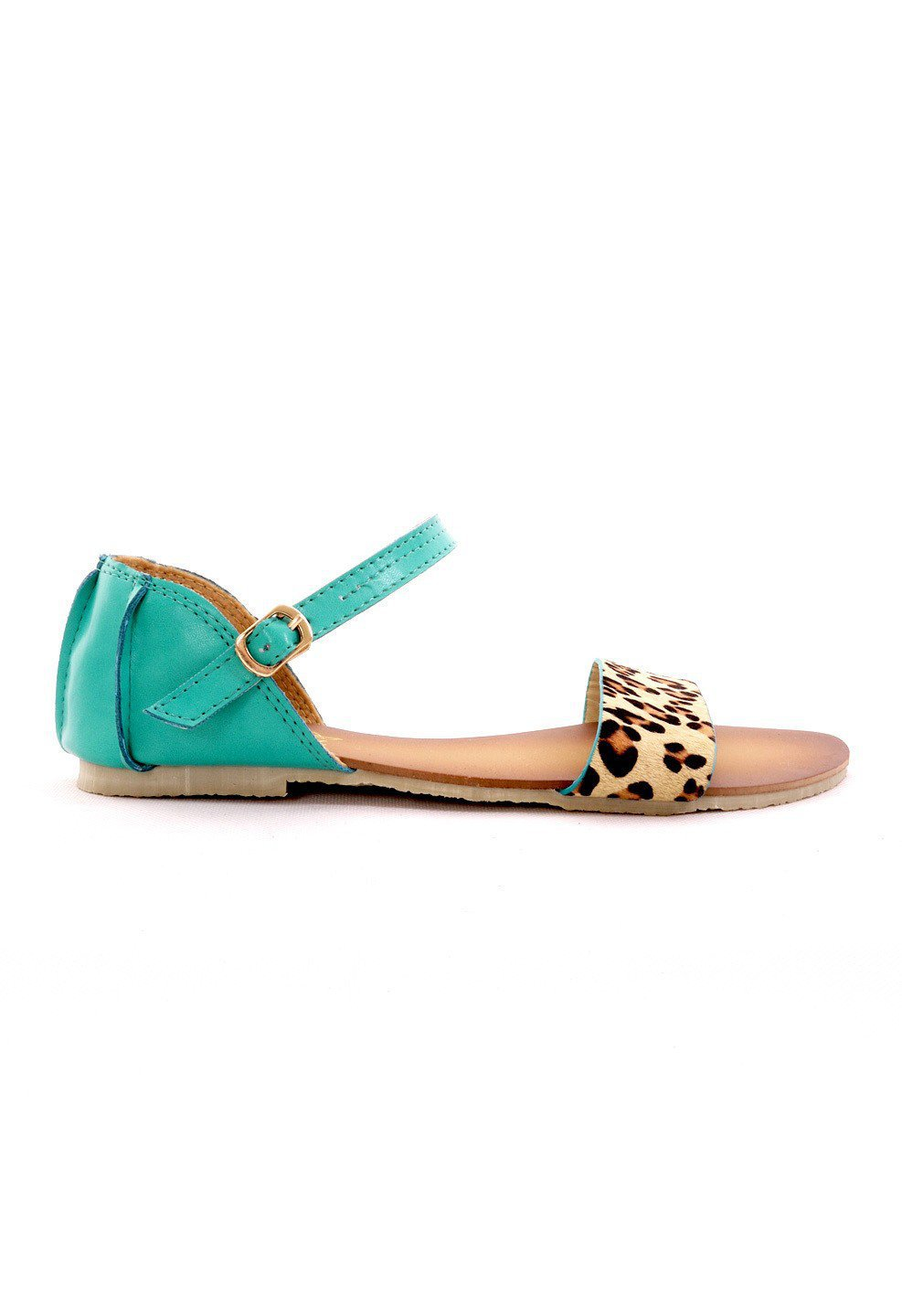 Turquoise Leopard Strappy Sandal with Side Buckle