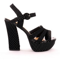 Black Heel Sandals with All Over Retro Dots