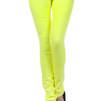 Neon Yellow Five Pocket Stretchy Jean