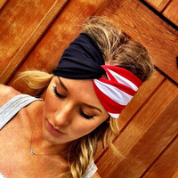 American Flag Twisted Turban Headband Red White and Blue Stripe Stretchy Head bands Hair Coverings for July 4th