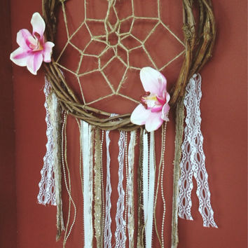 Floral Dreamcatcher with Branch Frame || Bohemian || Hippie || Wall Hanging