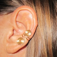 2 Ear Cuffs Free Shipping US or International Non Pierced &quot;Double Spiral&quot;