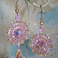 Pink Angel Swarovski Crystal Beadwork Earrings, OOAK one of a kind sparkle