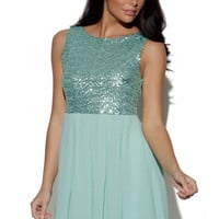 Mint Green Sleeveless Dress with Sequin Embellished Top