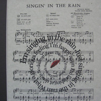 Singing In The Rain Spiral Song Lyric Sheet Music Art Print