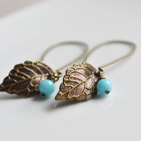 Small Leaf Earrings. Dangling Brass Leaf. Blue Jade Bead. Brass Kidney Shaped Earring Backing.