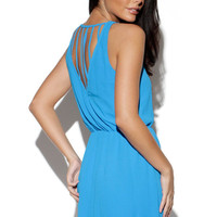 Blue Cutout Back Sleeveless Mini Dress with Elastic Was it