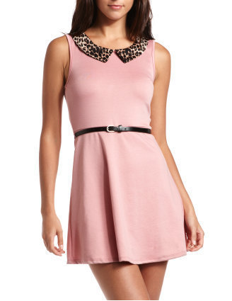 Belted Animal Collar Dress