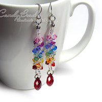 Swarovski earrings, Spectrum rainbow twisty Swarovski Crystal by CandyBead (E009-04)
